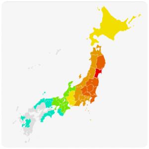 cssで色分けした日本地図